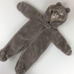 Carter's bear one piece zip up hoodie footie